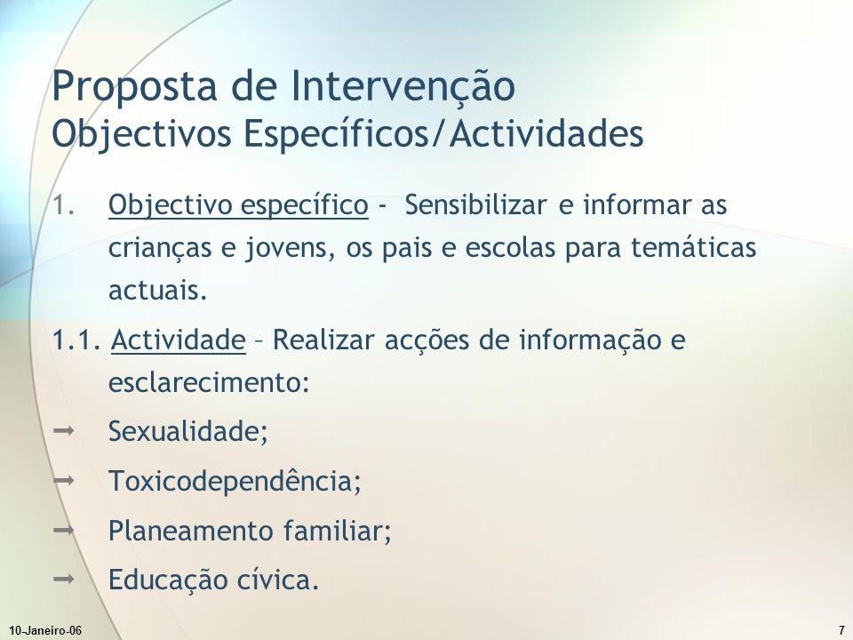10-Janeiro-067 Proposta de Intervenção Objectivos Específicos/Actividades 1.Objectivo específico - Sensibilizar e informar as crianças e jovens, os pais e escolas para temáticas actuais.