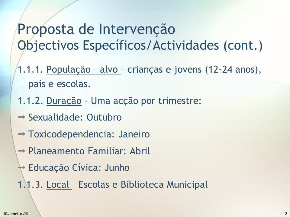 10-Janeiro-068 Proposta de Intervenção Objectivos Específicos/Actividades (cont.) 1.1.1.