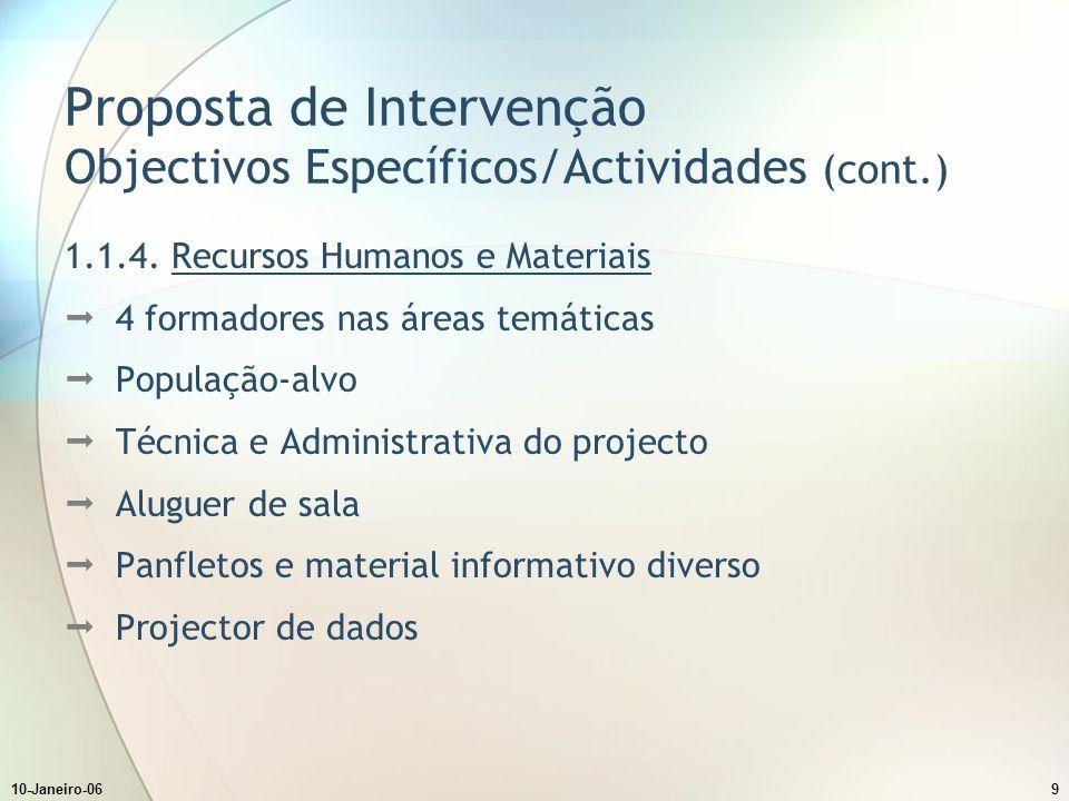 10-Janeiro-069 Proposta de Intervenção Objectivos Específicos/Actividades (cont.) 1.1.4.