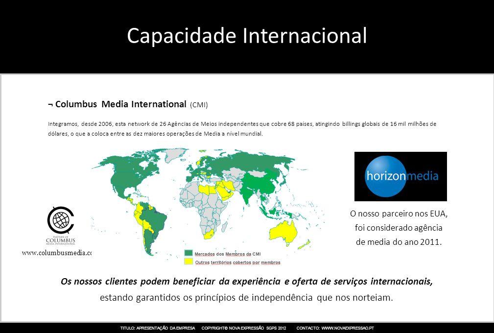 TITULO: APRESENTAÇÃO DA EMPRESA COPYRIGHT© NOVA EXPRESSÃO SGPS 2012 CONTACTO: WWW.NOVAEXPRESSAO.PT Capacidade Internacional ¬ Columbus Media Internati