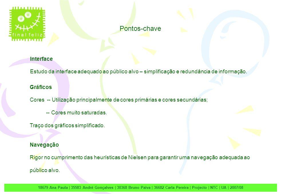 2 18679 Ana Paula | 35583 André Gonçalves | 30368 Bruno Paiva | 36682 Carla Pereira | Projecto | NTC | UA | 2007/08 Interface Estudo da interface adequado ao público alvo – simplificação e redundância de informação.