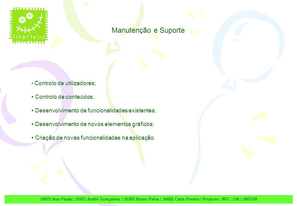 2 18679 Ana Paula | 35583 André Gonçalves | 30368 Bruno Paiva | 36682 Carla Pereira | Projecto | NTC | UA | 2007/08 Manutenção e Suporte Controlo de u
