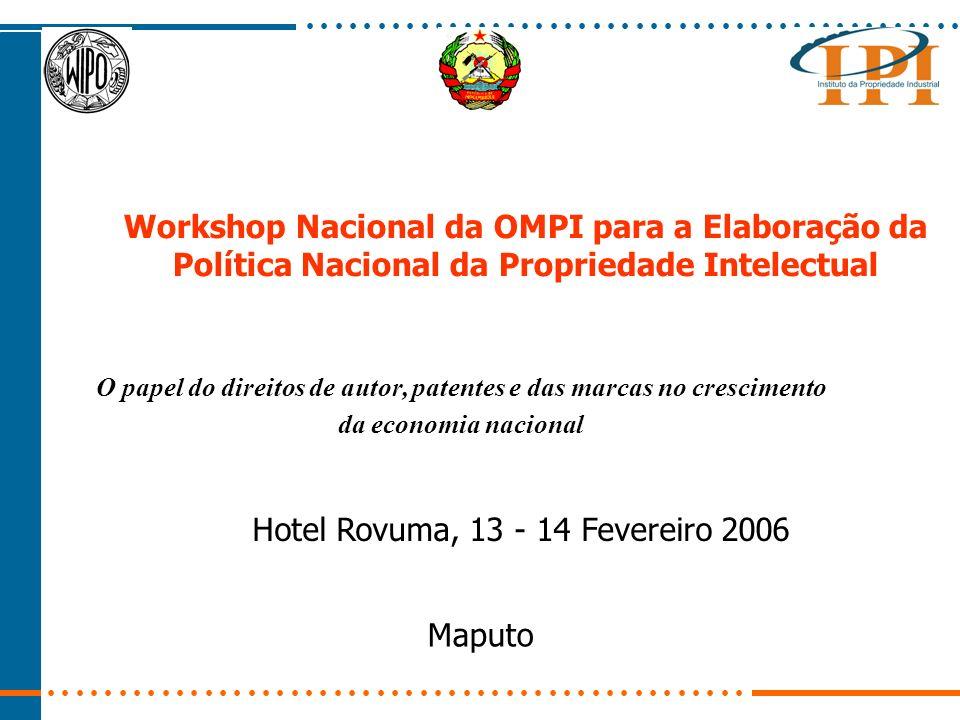 Workshop Nacional da OMPI para a Elaboração da Política Nacional da Propriedade Intelectual Hotel Rovuma, 13 - 14 Fevereiro 2006 Maputo O papel do direitos de autor, patentes e das marcas no crescimento da economia nacional