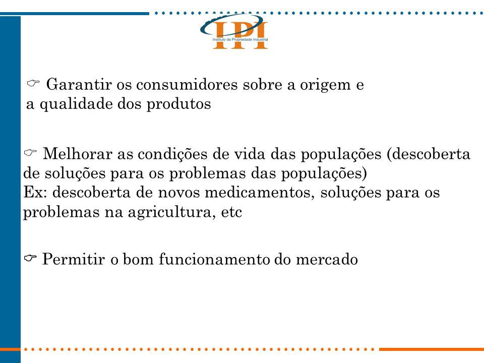 Melhorar as condições de vida das populações (descoberta de soluções para os problemas das populações) Ex: descoberta de novos medicamentos, soluções para os problemas na agricultura, etc Garantir os consumidores sobre a origem e a qualidade dos produtos Permitir o bom funcionamento do mercado