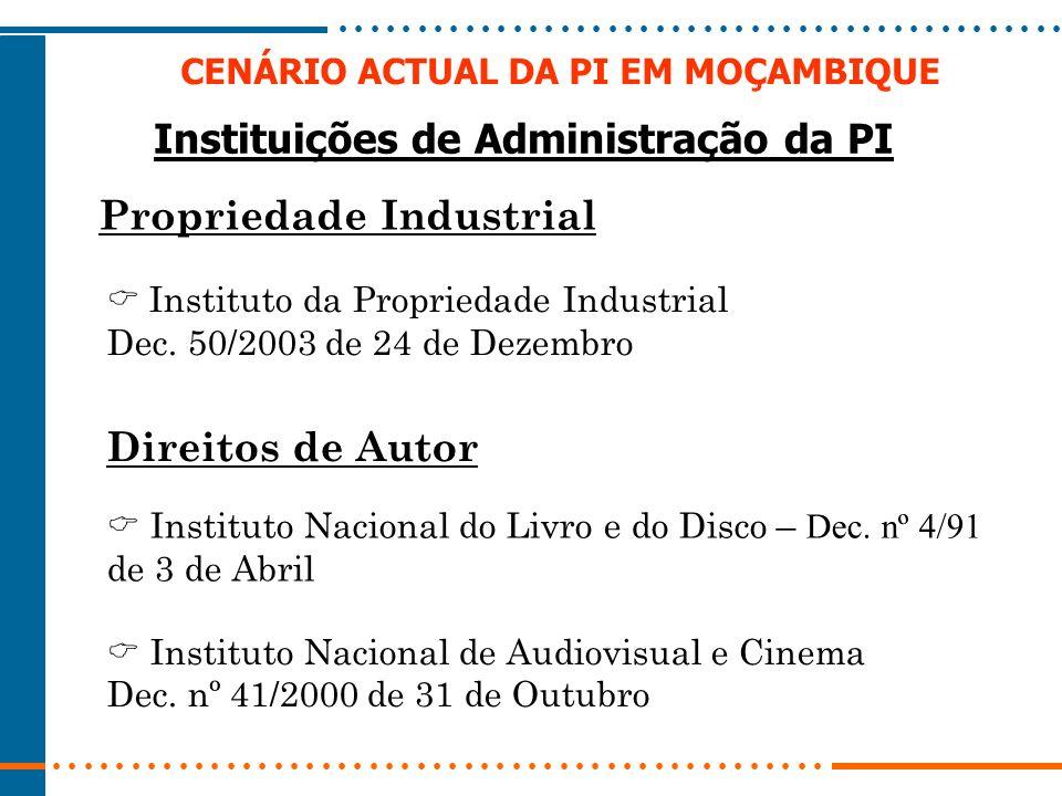 CENÁRIO ACTUAL DA PI EM MOÇAMBIQUE Instituições de Administração da PI Propriedade Industrial Instituto da Propriedade Industrial Dec. 50/2003 de 24 d
