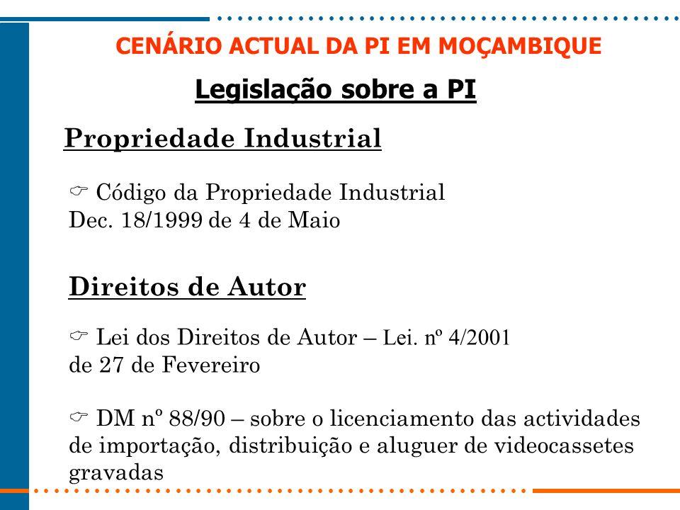 CENÁRIO ACTUAL DA PI EM MOÇAMBIQUE Legislação sobre a PI Propriedade Industrial Código da Propriedade Industrial Dec. 18/1999 de 4 de Maio Direitos de