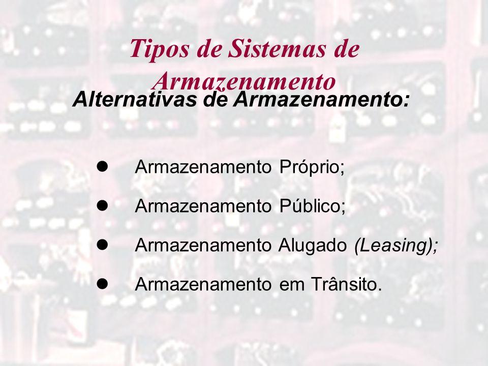 Tipos de Sistemas de Armazenamento Alternativas de Armazenamento: Armazenamento Próprio; Armazenamento Público; Armazenamento Alugado (Leasing); Armaz