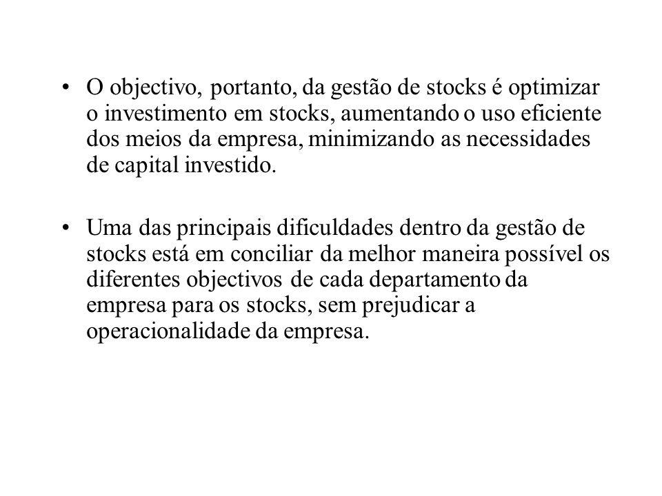 O objectivo, portanto, da gestão de stocks é optimizar o investimento em stocks, aumentando o uso eficiente dos meios da empresa, minimizando as neces