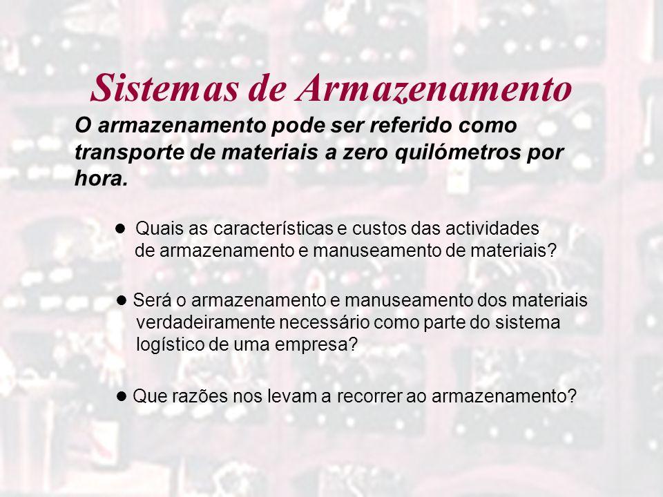 Sistemas de Armazenamento O armazenamento pode ser referido como transporte de materiais a zero quilómetros por hora. Quais as características e custo