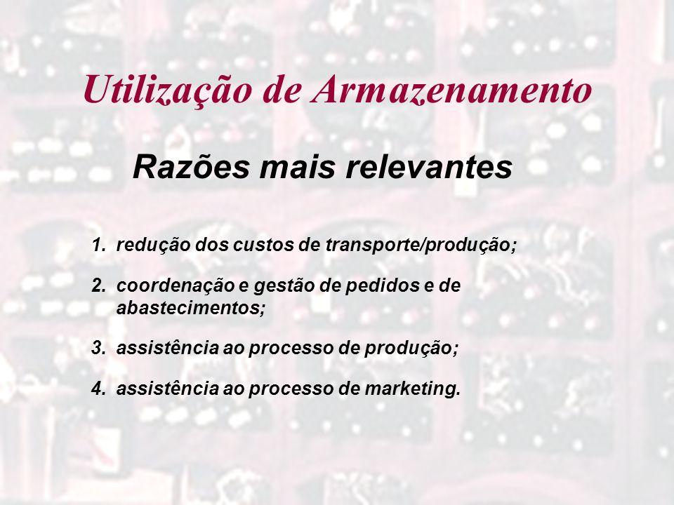 Utilização de Armazenamento 1.redução dos custos de transporte/produção; 2.coordenação e gestão de pedidos e de abastecimentos; 3.assistência ao proce