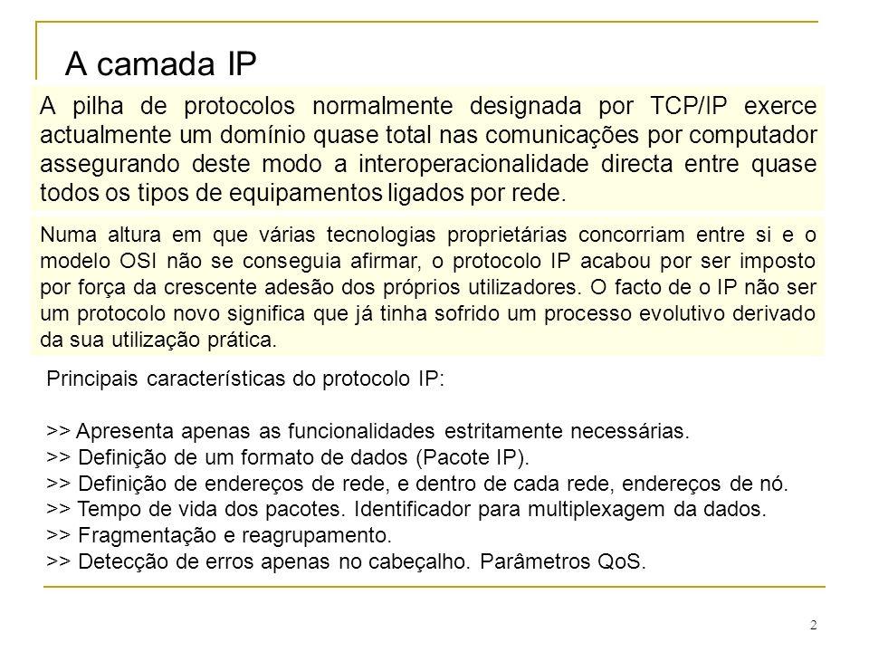 3 DATAGRAMAS IP Um dos aspectos importantes de um protocolo com o objectivo de garantir a interligação universal é a definição de um formato para os pacotes que transportam os dados (datagrama).