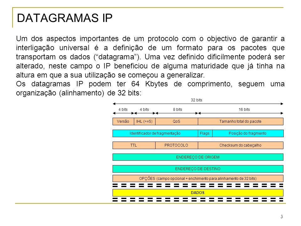 4 Tamanho dos DATAGRAMAS IP Embora os datagramas IP possam ter até 64 Kbytes de comprimento, eles têm de ser transportados com recurso a tecnologias de nível 2 que podem não suportar esse volume de dados em cada PDU.