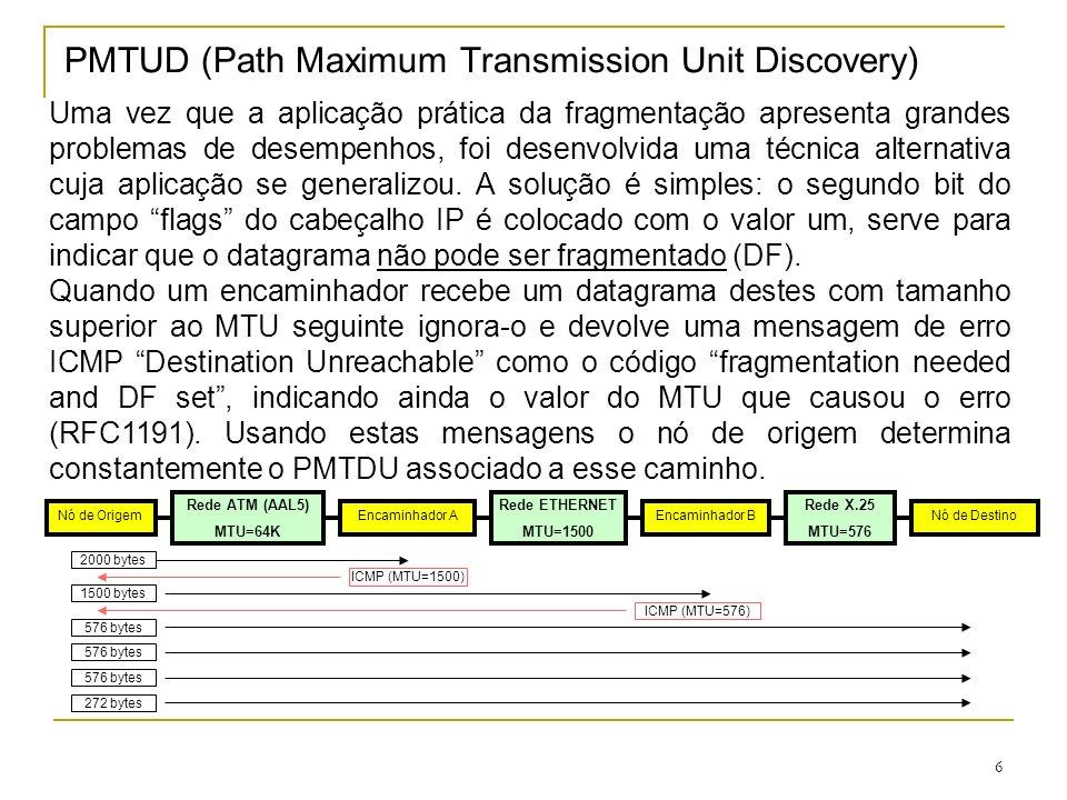 7 Transporte de datagramas IP A pilha de protocolos TCP/IP recorre a um serviço externo de transporte de pacotes (tramas de nível 2), para assegurar a transferência dos datagramas IP entre encaminhadores.