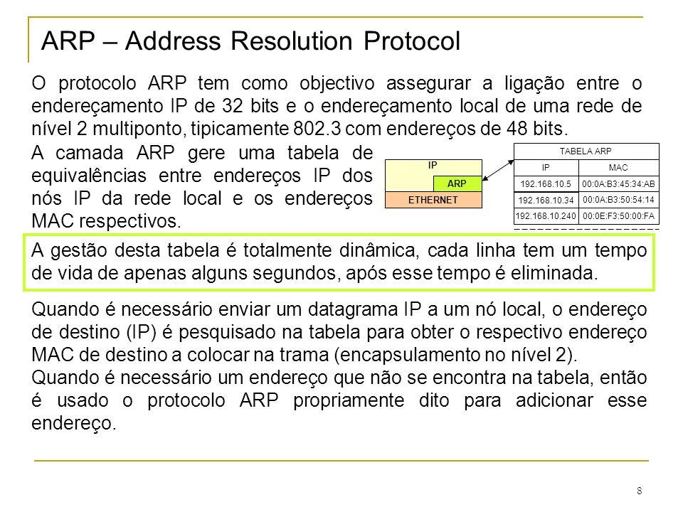 9 Protocolo ARP O protocolo ARP é usado quando é necessário um endereço de nível 2 (MAC) correspondente a um dado endereço de nível 3 (IP), e este não se encontra na tabela ARP.
