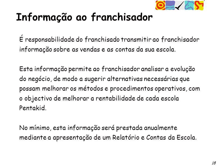 18 Informação ao franchisador É responsabilidade do franchisado transmitir ao franchisador informação sobre as vendas e as contas da sua escola.