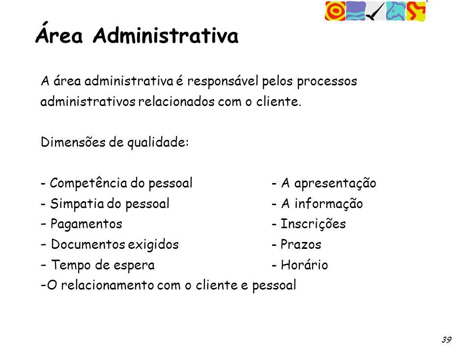 39 Área Administrativa A área administrativa é responsável pelos processos administrativos relacionados com o cliente.