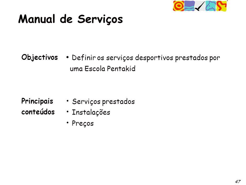 47 Manual de Serviços Objectivos Principais conteúdos Definir os serviços desportivos prestados por uma Escola Pentakid Serviços prestados Instalações Preços