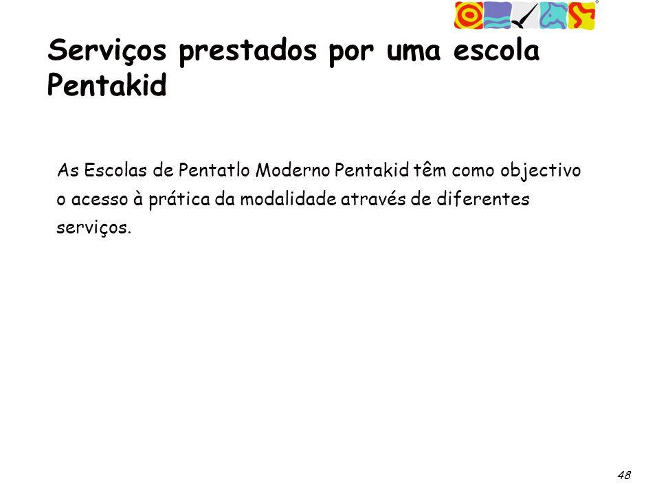 48 Serviços prestados por uma escola Pentakid As Escolas de Pentatlo Moderno Pentakid têm como objectivo o acesso à prática da modalidade através de diferentes serviços.