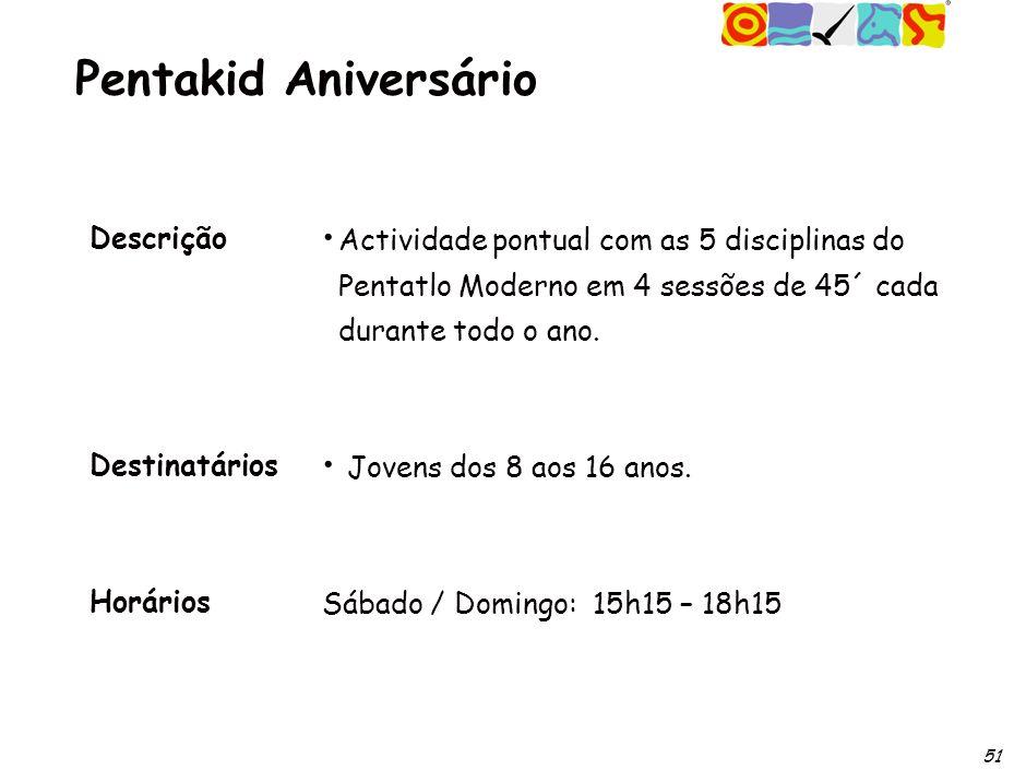 51 Pentakid Aniversário Descrição Destinatários Horários Actividade pontual com as 5 disciplinas do Pentatlo Moderno em 4 sessões de 45´ cada durante todo o ano.