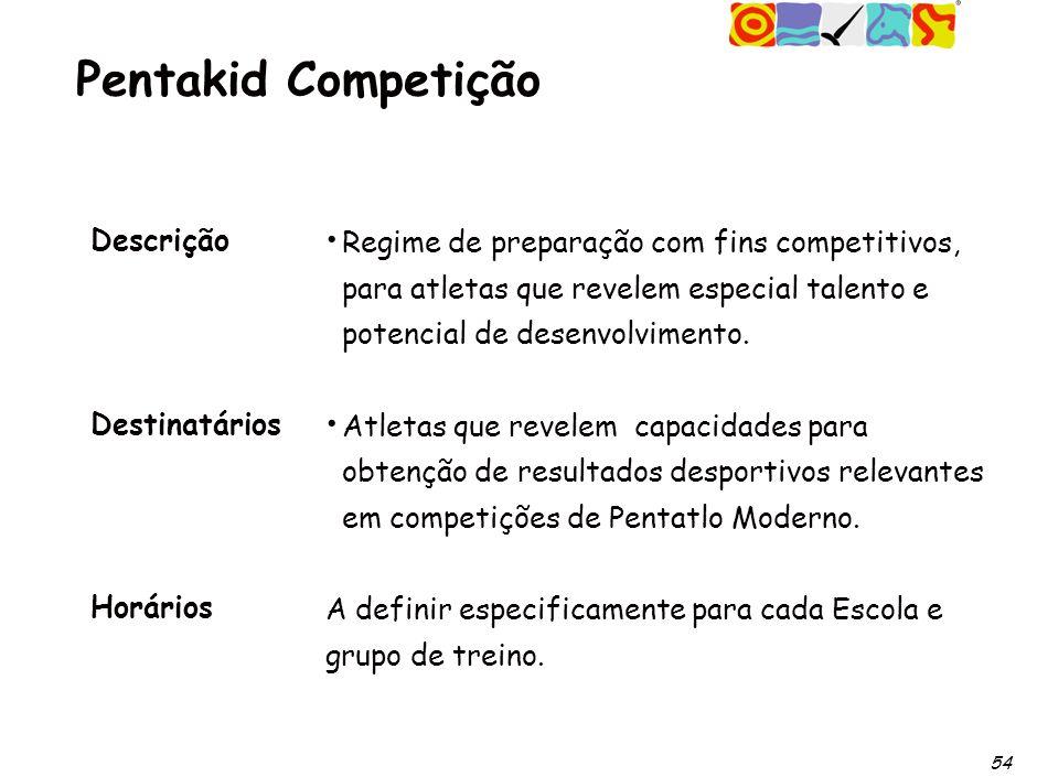 54 Pentakid Competição Descrição Destinatários Horários Regime de preparação com fins competitivos, para atletas que revelem especial talento e potencial de desenvolvimento.