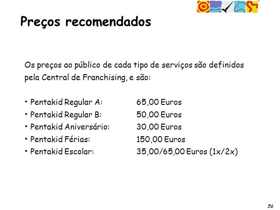 56 Preços recomendados Os preços ao público de cada tipo de serviços são definidos pela Central de Franchising, e são: Pentakid Regular A: 65,00 Euros Pentakid Regular B: 50,00 Euros Pentakid Aniversário: 30,00 Euros Pentakid Férias: 150,00 Euros Pentakid Escolar: 35,00/65,00 Euros (1x/2x)