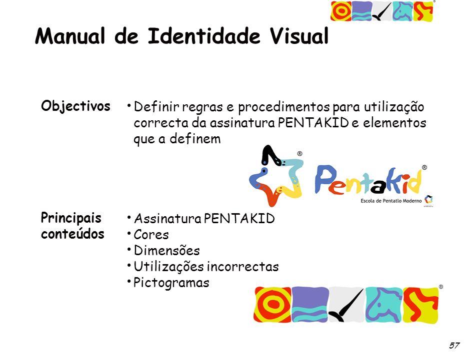 57 Manual de Identidade Visual Objectivos Principais conteúdos Definir regras e procedimentos para utilização correcta da assinatura PENTAKID e elementos que a definem Assinatura PENTAKID Cores Dimensões Utilizações incorrectas Pictogramas