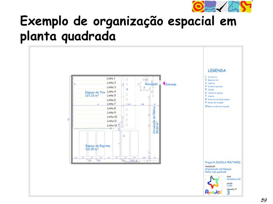 59 Exemplo de organização espacial em planta quadrada