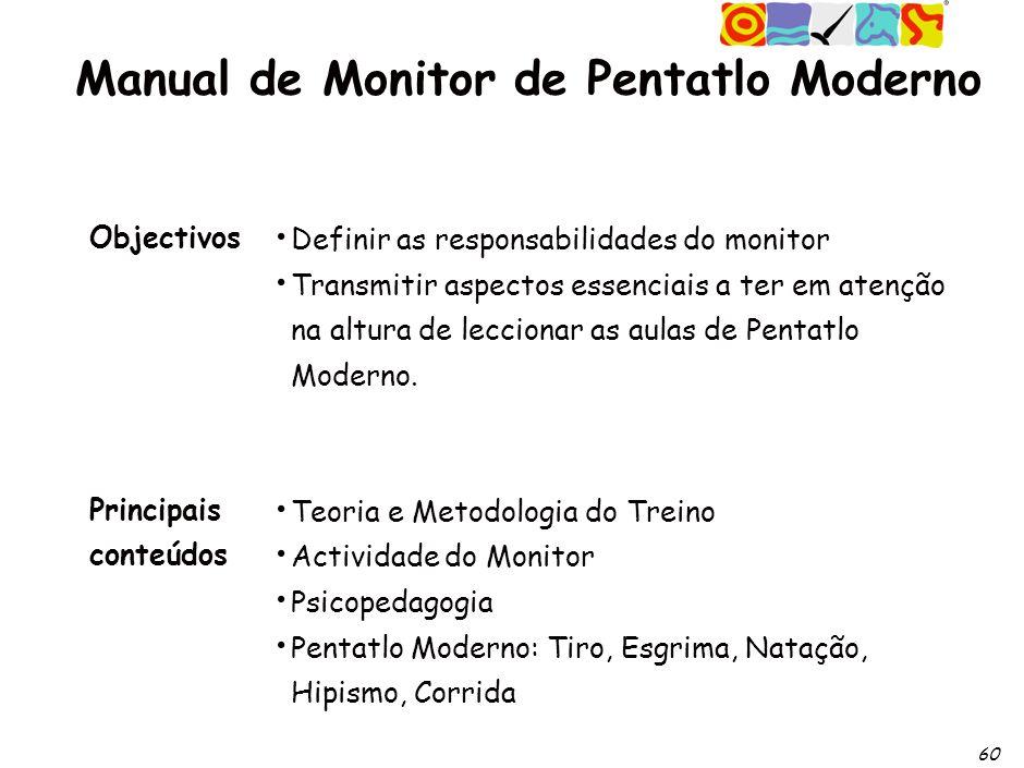 60 Definir as responsabilidades do monitor Transmitir aspectos essenciais a ter em atenção na altura de leccionar as aulas de Pentatlo Moderno.