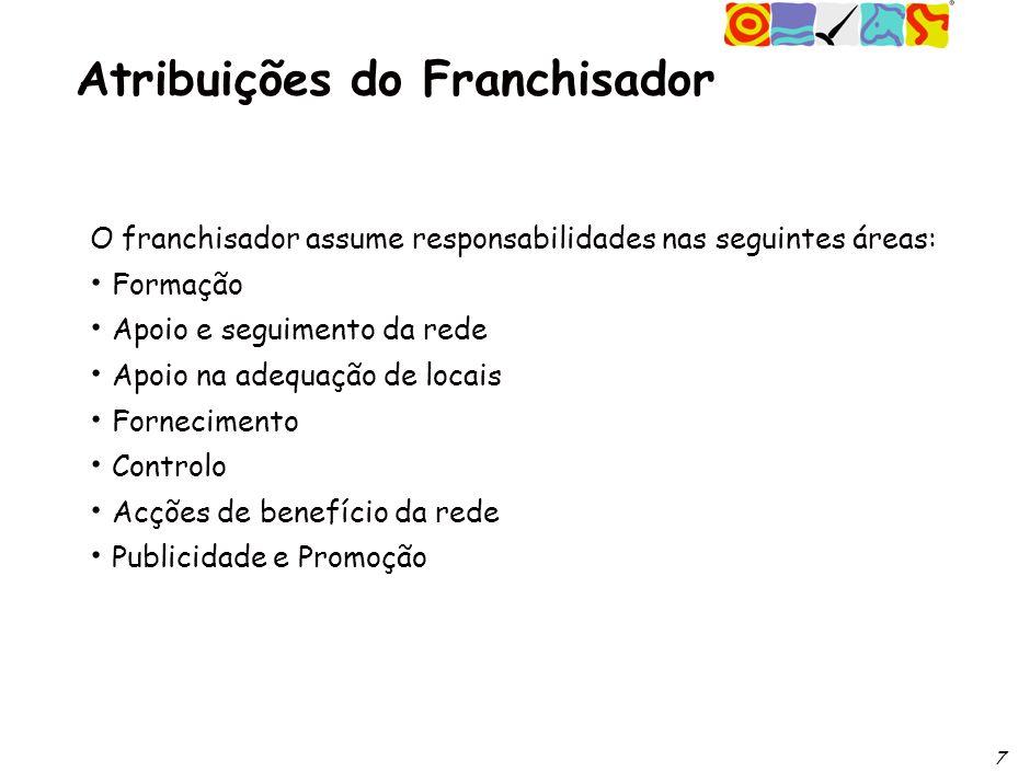 7 Atribuições do Franchisador O franchisador assume responsabilidades nas seguintes áreas: Formação Apoio e seguimento da rede Apoio na adequação de locais Fornecimento Controlo Acções de benefício da rede Publicidade e Promoção
