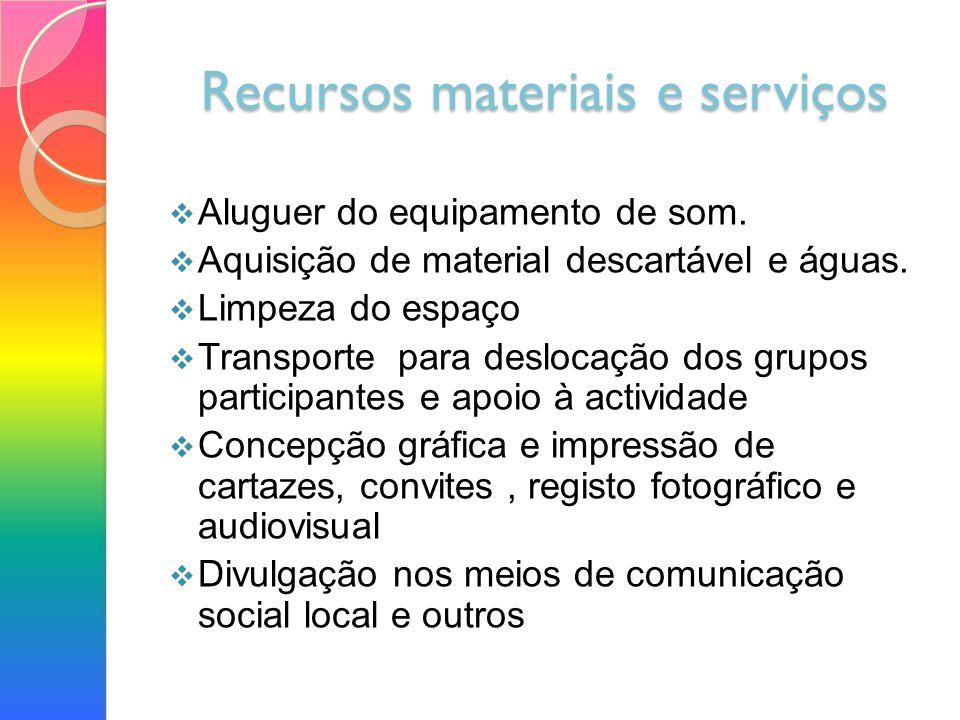 Recursos materiais e serviços Aluguer do equipamento de som.