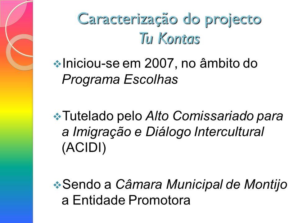 Caracterização do projecto Tu Kontas Iniciou-se em 2007, no âmbito do Programa Escolhas Tutelado pelo Alto Comissariado para a Imigração e Diálogo Intercultural (ACIDI) Sendo a Câmara Municipal de Montijo a Entidade Promotora