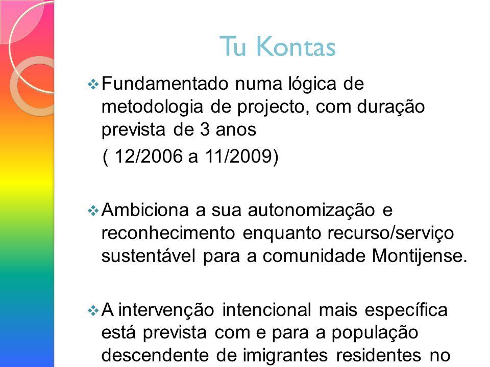 Tu Kontas Fundamentado numa lógica de metodologia de projecto, com duração prevista de 3 anos ( 12/2006 a 11/2009) Ambiciona a sua autonomização e reconhecimento enquanto recurso/serviço sustentável para a comunidade Montijense.