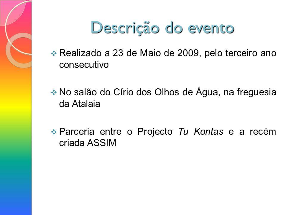 Descrição do evento Realizado a 23 de Maio de 2009, pelo terceiro ano consecutivo No salão do Círio dos Olhos de Água, na freguesia da Atalaia Parceria entre o Projecto Tu Kontas e a recém criada ASSIM