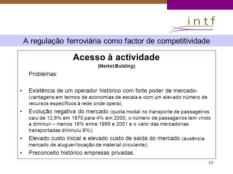 10 A regulação ferroviária como factor de competitividade Acesso à actividade (Market Building) Problemas: Existência de um operador histórico com for