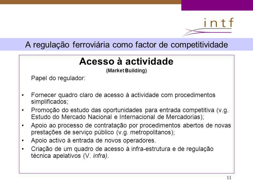 11 A regulação ferroviária como factor de competitividade Acesso à actividade (Market Building) Papel do regulador: Fornecer quadro claro de acesso à