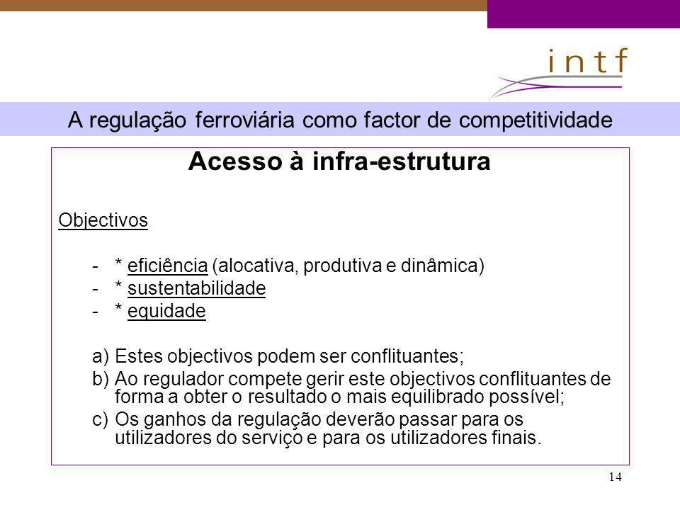 14 A regulação ferroviária como factor de competitividade Acesso à infra-estrutura Objectivos -* eficiência (alocativa, produtiva e dinâmica) -* suste