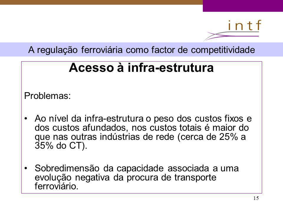 15 A regulação ferroviária como factor de competitividade Acesso à infra-estrutura Problemas: Ao nível da infra-estrutura o peso dos custos fixos e do