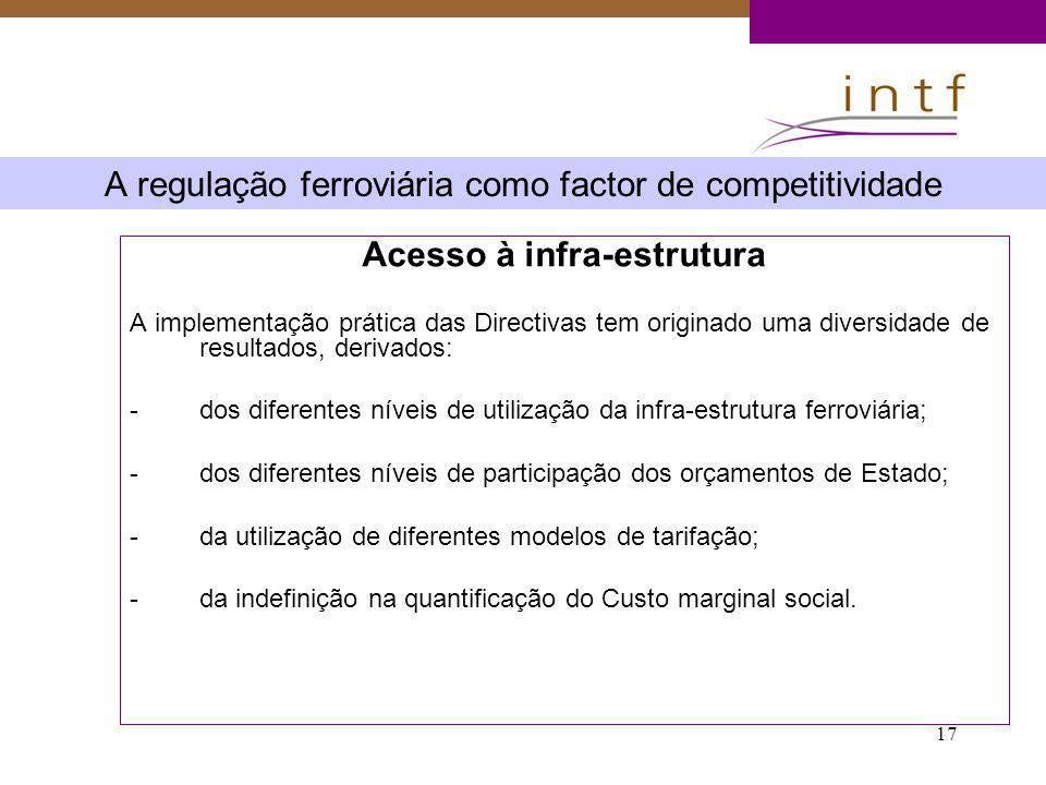 17 A regulação ferroviária como factor de competitividade Acesso à infra-estrutura A implementação prática das Directivas tem originado uma diversidad
