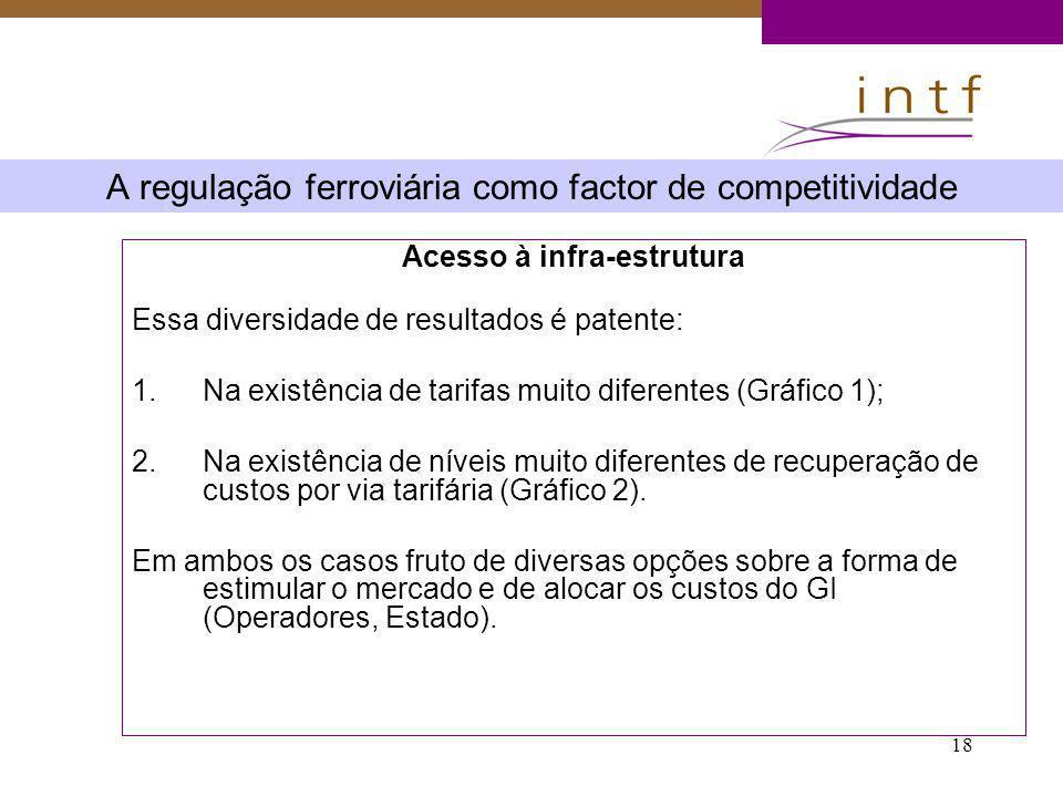 18 A regulação ferroviária como factor de competitividade Acesso à infra-estrutura Essa diversidade de resultados é patente: 1.Na existência de tarifa