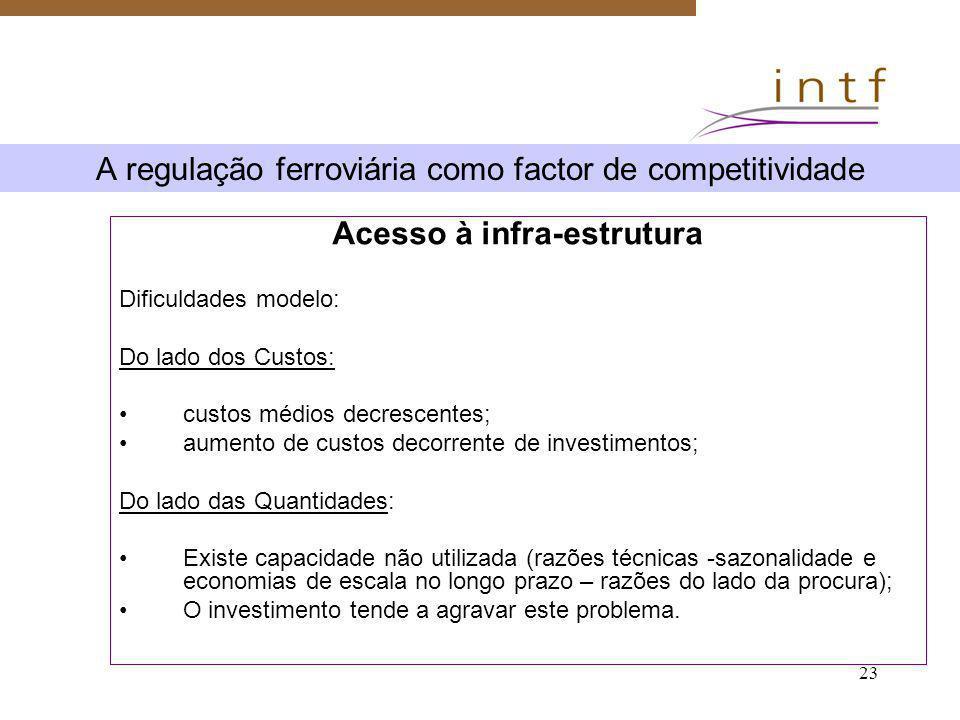 23 A regulação ferroviária como factor de competitividade Acesso à infra-estrutura Dificuldades modelo: Do lado dos Custos: custos médios decrescentes