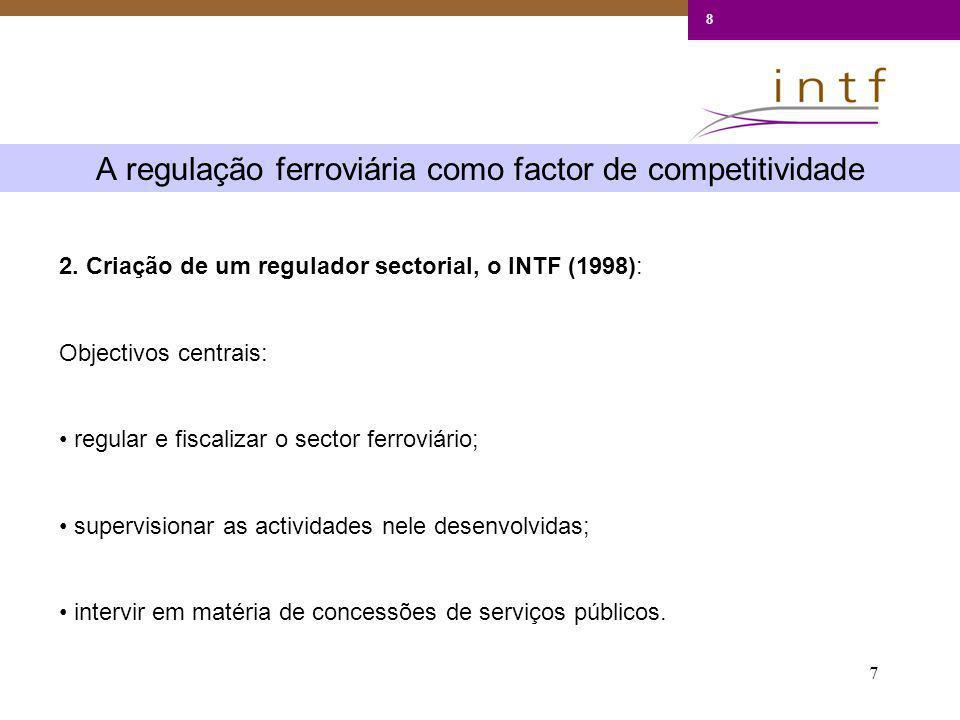 7 A regulação ferroviária como factor de competitividade 8 2. Criação de um regulador sectorial, o INTF (1998): Objectivos centrais: regular e fiscali