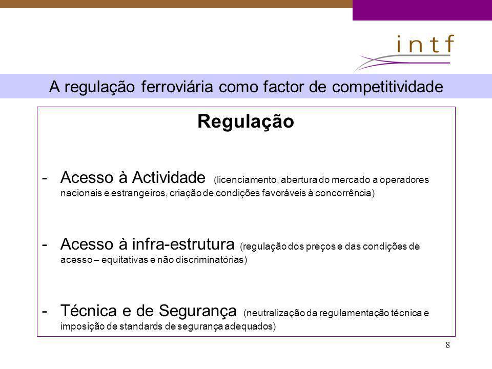 8 A regulação ferroviária como factor de competitividade Regulação -Acesso à Actividade (licenciamento, abertura do mercado a operadores nacionais e e