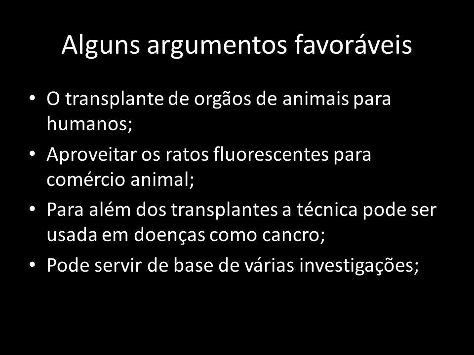 Alguns argumentos favoráveis O transplante de orgãos de animais para humanos; Aproveitar os ratos fluorescentes para comércio animal; Para além dos tr