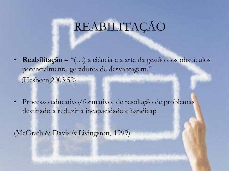 Reabilitação – (…) a ciência e a arte da gestão dos obstáculos potencialmente geradores de desvantagem. (Hesbeen,2003:52) Processo educativo/formativo