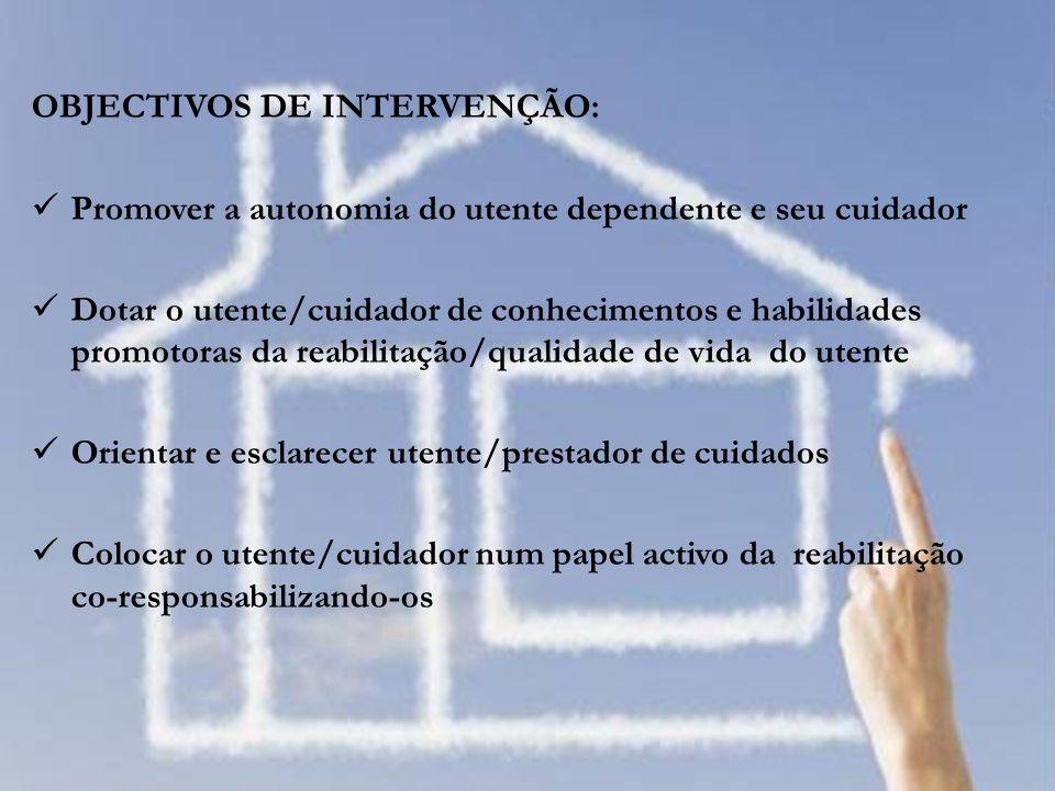 OBJECTIVOS DE INTERVENÇÃO: Promover a autonomia do utente dependente e seu cuidador Dotar o utente/cuidador de conhecimentos e habilidades promotoras