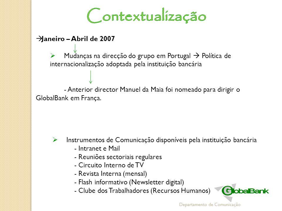 Departamento de Comunicação Janeiro – Abril de 2007 Mudanças na direcção do grupo em Portugal Política de internacionalização adoptada pela instituiçã