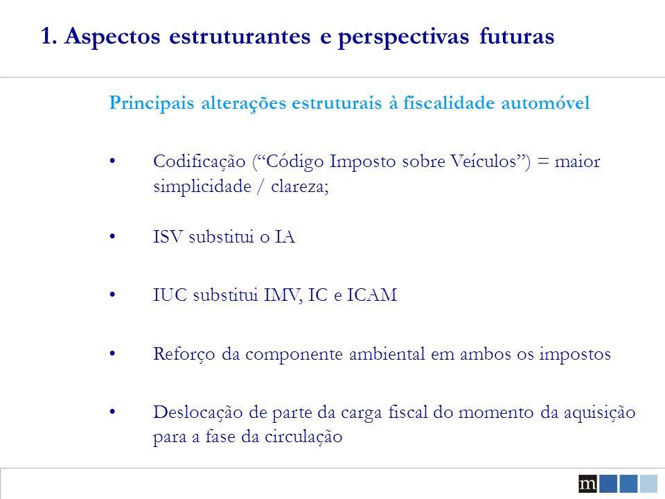 Exemplos práticos – (valores em, IVA sobre o IA ou ISV incluído) Utilitários Opel Corsa 1.0 (gasolina) IA + IMV = 1664,03 + 16,21 = 1680, 24 ISV + IUC = 1184,69 + 100 = 1284,69 Diferença: Mais barato na aquisição 395,55, paga mais a partir do ano 7 3.