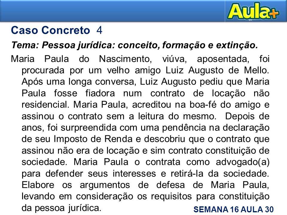 Caso Concreto 4 Tema: Pessoa jurídica: conceito, formação e extinção. Maria Paula do Nascimento, viúva, aposentada, foi procurada por um velho amigo L