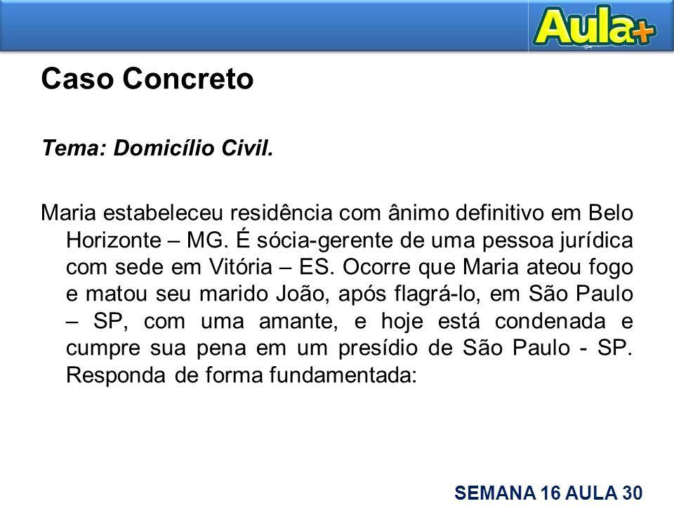 Caso Concreto Tema: Domicílio Civil. Maria estabeleceu residência com ânimo definitivo em Belo Horizonte – MG. É sócia-gerente de uma pessoa jurídica