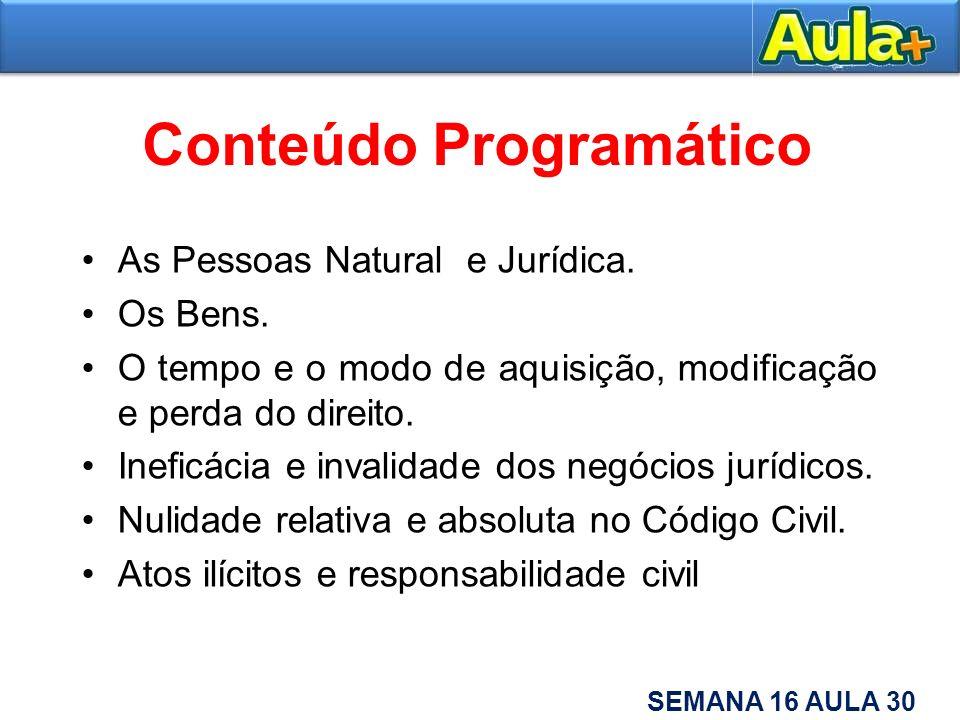 Conteúdo Programático As Pessoas Natural e Jurídica. Os Bens. O tempo e o modo de aquisição, modificação e perda do direito. Ineficácia e invalidade d